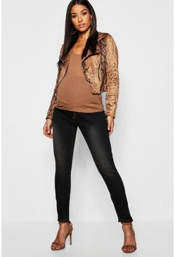 Black Maternity Over The Bump Skinny Jean