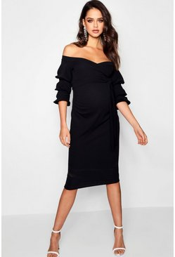 Black Maternity  Off Shoulder Detail Midi Dress