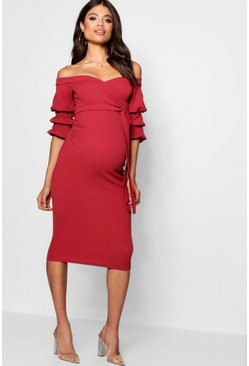 Cranberry red Maternity  Off Shoulder Detail Midi Dress