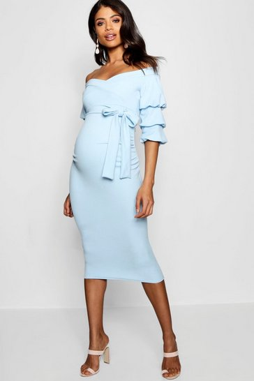 Sky blue Maternity  Off Shoulder Detail Midi Dress