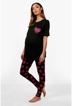 "Conjunto de pijama May premamá de San Valentín ""Made With Love"", Negro"