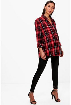 Red Maternity  Check Oversized Shirt