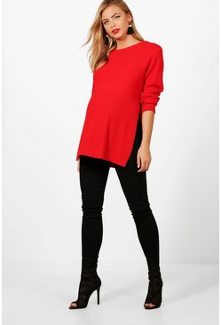Red Maternity  Side Split Moss Stitch Jumper
