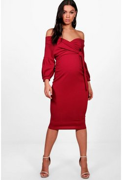 Berry red Maternity Off The Shoulder Wrap Midi Dress