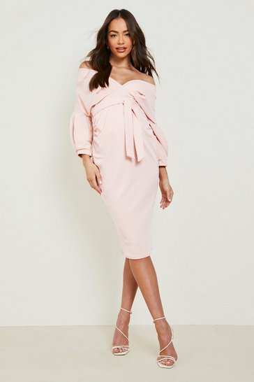 Coral blush pink Maternity Off The Shoulder Wrap Midi Dress