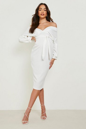 Ivory white Maternity Off The Shoulder Wrap Midi Dress