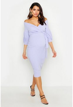 Lilac purple Maternity Off The Shoulder Wrap Midi Dress