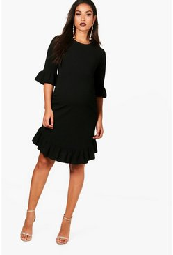 Black Maternity  Curve Hem Ruffle Shift Dress