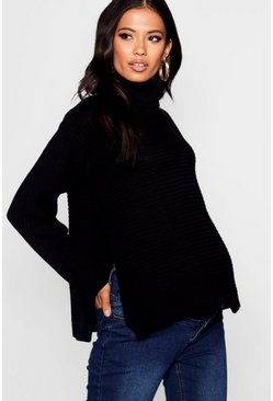 Black Maternity  Roll Neck Jumper with Side Split
