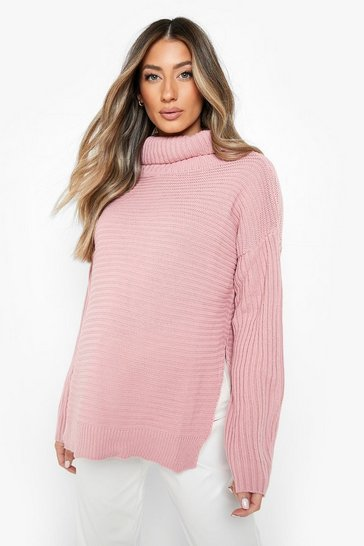 Desert rose pink Maternity  Roll Neck Jumper with Side Split