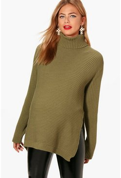 Khaki Maternity Turtleneck Sweater With Side Split