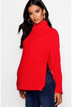 Red Maternity  Roll Neck Jumper with Side Split