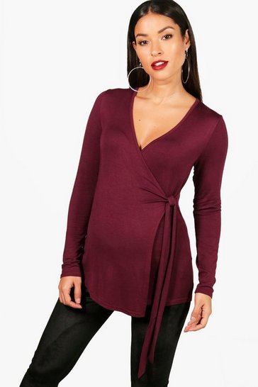 Berry red Red Maternity  Long Sleeve Wrap Top