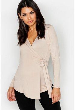 Stone beige Maternity  Long Sleeve Wrap Top