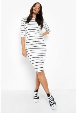 Black Maternity  Striped 3/4 Sleeved Midi Dress