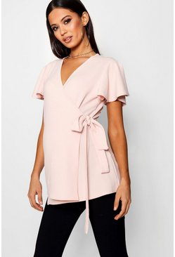Blush pink Maternity  Crepe Wrap Top