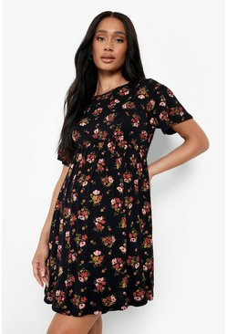 Black Maternity  Floral Smock Dress