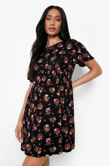 Black Maternity  Floral Smock Dress