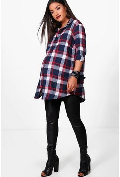 Blue Maternity  Check Shirt