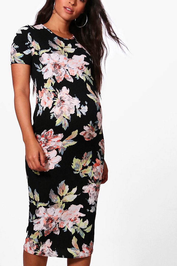 Maternity Floral Printed Short Sleeve Dress Boohoo