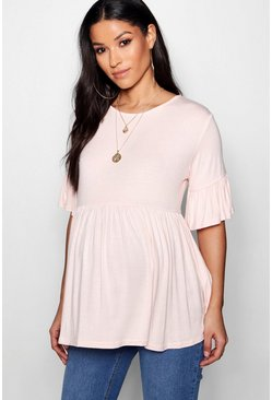 Blush pink Maternity  Ruffle Smock Top