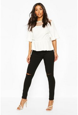 Black Maternity Grace Over The Bump Ripped Skinny Jean