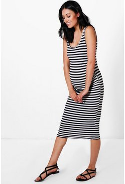 Multi Maternity  Stripe Strappy Midi Bodycon Dress