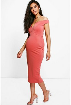 Rose pink Maternity Sweetheart Off The Shoulder Dress