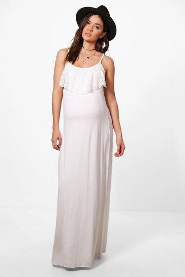 Maternity Alexia Lace Ruffle Strappy Maxi Dress