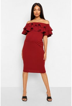 Berry red Maternity  Ruffle Off The Shoulder Midi Dress