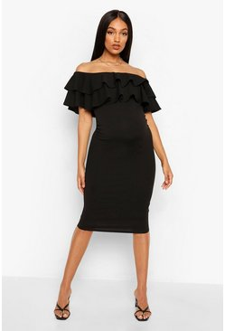 Black Maternity  Ruffle Off The Shoulder Midi Dress