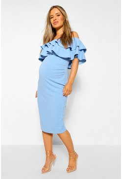 Bluebell blue Maternity  Ruffle Off The Shoulder Midi Dress