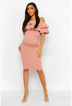 Desert rose pink Maternity  Ruffle Off The Shoulder Midi Dress