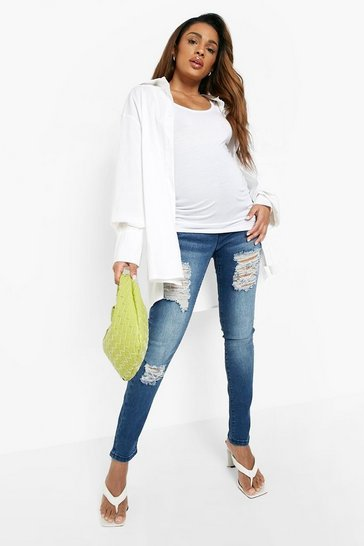 Blue Maternity  Rip Skinny Over The Bump Jeans