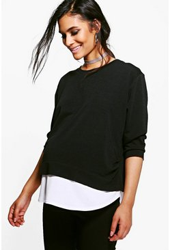 Black Maternity  2 in 1 Raw Edge Top