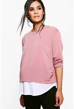 Blush pink Maternity  2 in 1 Raw Edge Top