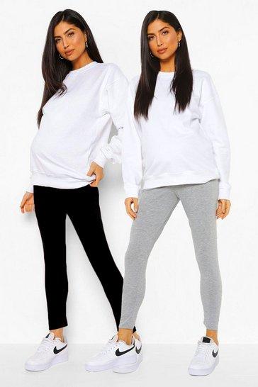 Grey Maternity  2 Pack Over The Bump Leggings
