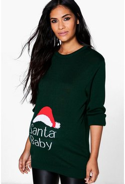 Green Santa Baby Slogan Maternity Christmas Jumper