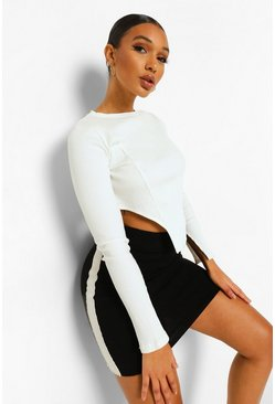 Black Side Stripe Knitted Skirt