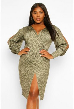 Khaki Leopard Print Wrap Dress