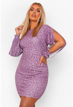 Purple Leopard Print Bodycon Dress