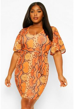 Orange Snake Print Belted Dress