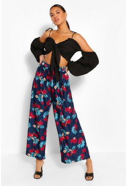 Navy Floral Printed Wide Leg Trouser