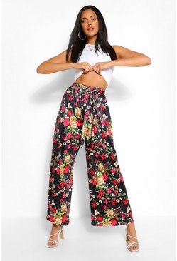 Black Floral Printed Wide Leg Trouser