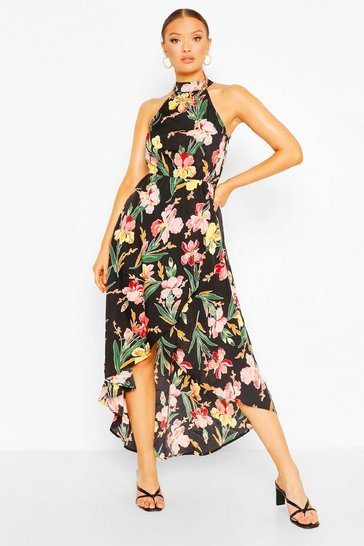 Black Floral Bodycon Midi Dress