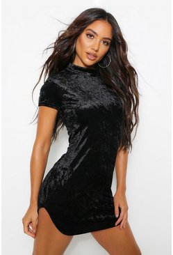 Black Short Sleeve Bodycon Mini Dress