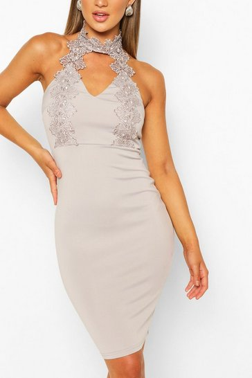 Silver Lace Detail Bodycon Midi Dress