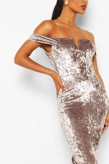 Grey Off Shoulder Bodycon Midi Dress
