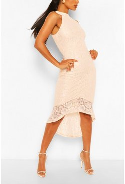 Nude Bodycon Midi Dress