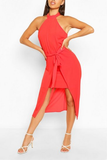 Red High Neck Bodycon Midi Dress